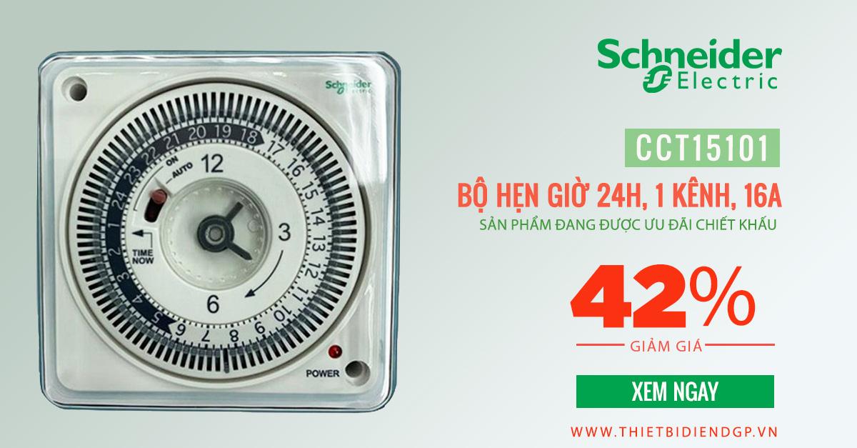 Chiết khấu 42% Sản phẩm Bộ hẹn giờ 24h Schneider 16A CCT15101