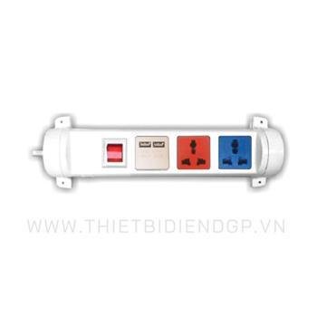 Ổ cắm kéo dài đa năng xoay LiOA 3 mét 3 ổ cắm có cổng sạc USB 5V-1A 3D32WN2XUSB