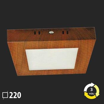 Đèn ốp trần nổi vân gỗ vuông 220x220 SMD 18W MSS-615