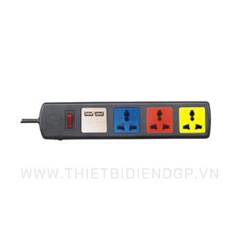Ổ cắm kéo dài đa năng LiOa 3 mét 4 ổ cắm có cổng sạc USB 5V-1A 4D32NUSB