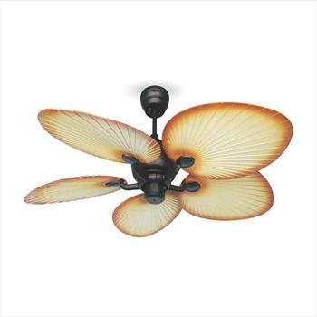 Quạt trần DC đèn led cánh lạ cọ Sinwa ABS màu nâu có remote SC 03