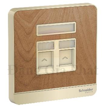 Bộ ổ cắm TV và Bộ ổ cắm mạng 5e màu gỗ E8332TDRJS5_WD_G19