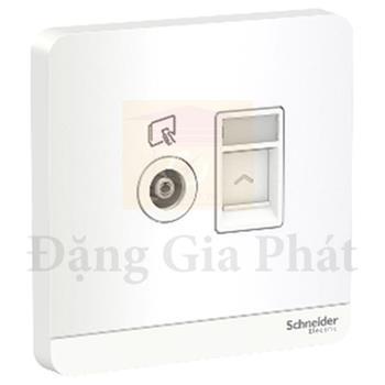 Bộ ổ cắm TV và Bộ ổ cắm mạng cat6 màu trắng E8332TVRJS6_WE_G19