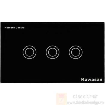 Công tắc ba Kawasan cảm ứng chạm - điều khiển remote kính cường lực màu đen KW-CT3B