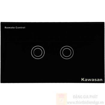 Công tắc đôi Kawasan cảm ứng chạm - điều khiển remote kính cường lực màu đen KW-CT2B