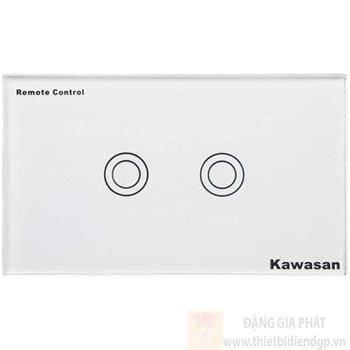 Công tắc đôi Kawasan cảm ứng chạm - điều khiển remote kính cường lực màu trắng KW-CT2W