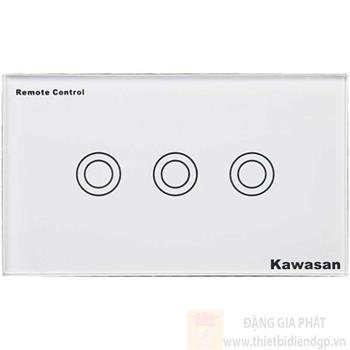 Công tắc ba Kawasan cảm ứng chạm - điều khiển remote kính cường lực màu trắng KW-CT3W
