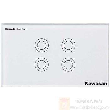 Công tắc bốn Kawasan cảm ứng chạm - điều khiển remote kính cường lực màu trắng KW-CT4W