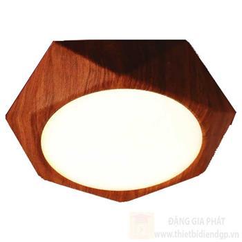 Đèn downlight ốp nổi hợp kim nhôm cao cấp 24W vỏ màu gỗ lục giác Ø310*H40, 3 chế độ ánh sáng LGG 24W