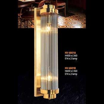 Đèn vách pha lê L160 x H600, E14 x 2 lamp NV 6801B