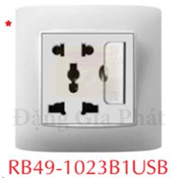 Ổ cắm 2 chấu + đa năng+ Ổ cắm USB RB49-1023BUSB