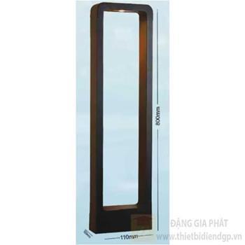 Đèn trụ cổng vuông led 12W, Ø110*H800, vỏ đen, ánh sáng vàng TC 1282