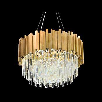 Đèn thả pha lê Verona Ø600 x H350, E14 x 12, Thân Xi Vàng TPL-810A(1)