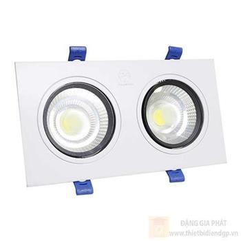 Đèn led âm trần đôi mặt tròn trắng COB 2x7W TLC-ACO-TT-14W