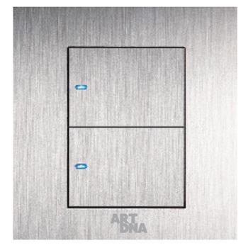Công tắc led đôi, 1 chiều A69-BK2A