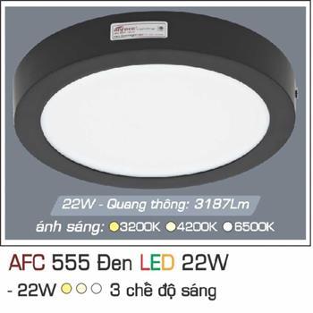 Đèn ốp trần cao cấp 3 chế độ Anfaco AFC 555 ĐEN 22W 3C AFC 555 DEN 22W 3C