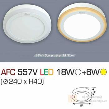 Đèn ốp trần cao cấp Anfaco 18W Ánh Sáng Trắng + 6W Ánh sáng vàng Tròn AFC 557V LED 18W+6W