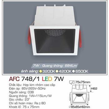 Đèn âm trần cao cấp Anfaco AFC 748/1 - 7W AFC 748/1
