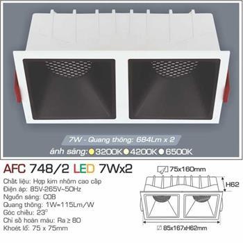 Đèn âm trần cao cấp Anfaco AFC 748/2 - 7Wx2 AFC 748/2