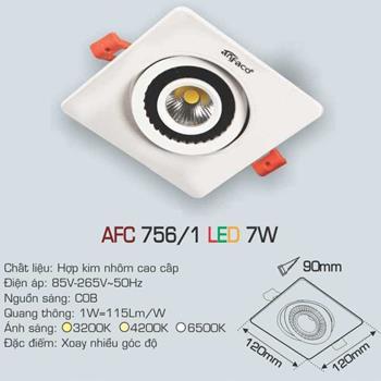 Đèn âm trần downlight Anfaco AFC 756/1 7W 1C AFC 756/1 7W 1C