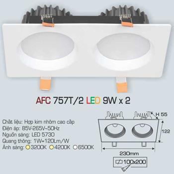 Đèn âm trần downlight Anfaco AFC 757T/2 9Wx2 AFC 757T/2 9Wx2