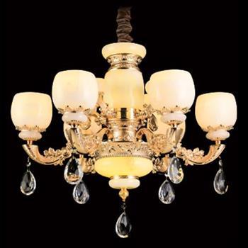 Đèn chùm phong thủy hợp Kim xi mạ, Đá bạch ngọc Ø760*H450, E14*6 LED C-131/6