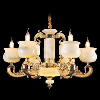 Đèn chùm nến chao đá ngọc Ø700xH430, LED - E14x6 CN-1925/6