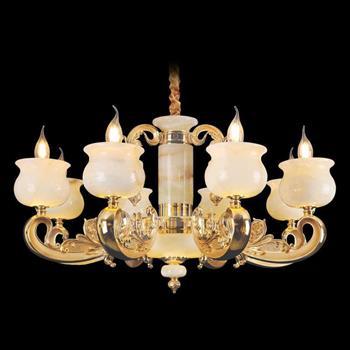 Đèn chùm nến chao đá ngọc Ø800xH430, LED - E14x8 CN-1925/8
