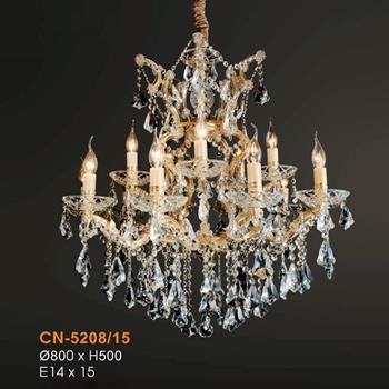 Đèn chùm pha lê nến Ø800xH500, E14x15 CN-5208/15
