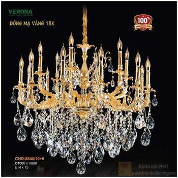 Đèn chùm nến đồng pha lê Ø1000xH860, LED - E14x15 CNĐ-8840/10+5