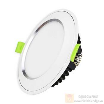 Đèn downlight âm trần Diamond viền bạc mặt cong 10W đổi màu DDL-10SS-T120-DM-CB