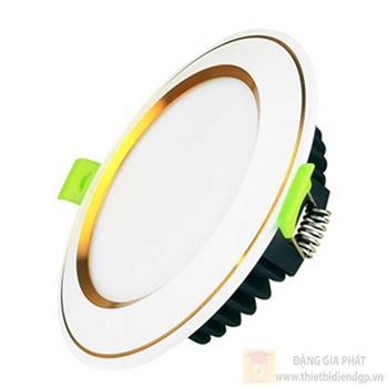 Đèn downlight âm trần kingled viền vàng mặt cong 9W đổi màu EC-DL-9SS-T118-DM-CV