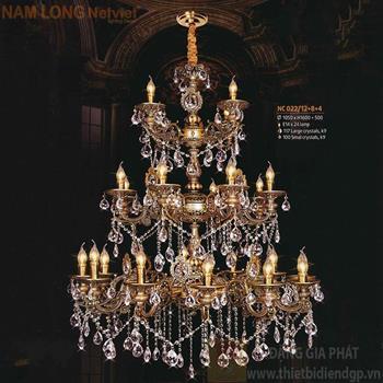 Đèn chùm Atimon cao cấp Ø1050*H1600+500, E14*24 lamp, 117 large crystals k9, 100 small crystals k9 NC 022/12+8+4