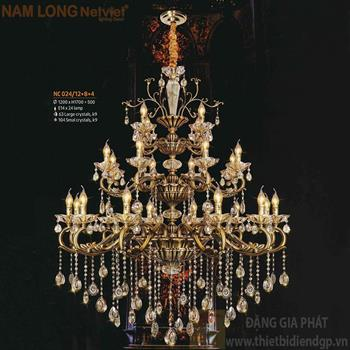 Đèn chùm Atimon cao cấp Ø1200*H1700+500, E14*24 lamp, 63 large crystals k9, 104 small crystals k9 NC 024/12+8+4