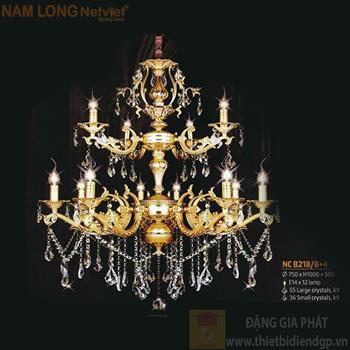 Đèn chùm Atimon cao cấp Ø750*H1000+500, E14*12 lamp, 55 large crystals k9, 36 small crystals k9 NC B218/8+4