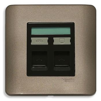 Bộ ổ cắm điện thoại và ổ cắm mạng cat6 màu đồng E8432TDRJS_6SZ_G19