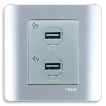 Bộ ổ sạc USB đôi 2.1A màu xám E8432USB_SA_G19