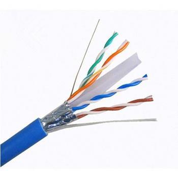 Dây cáp mạng CAT6 FTP 0.56 mm 4 Pair chống nhiễu 100% Cu có dầu màu xanh/ trắng NC6-F100O