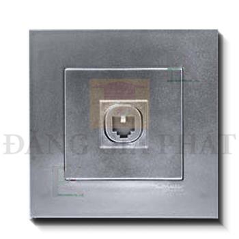 Bộ ổ cắm mạng cat6 đơn màu xám bạc KB31RJ6_AS