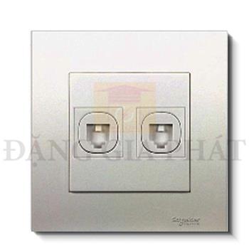 Bộ ổ cắm mạng cat5e đôi màu xám bạc KB32RJ5E_AS