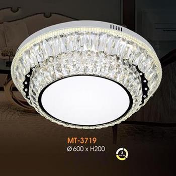 Đèn mâm Verona ốp trần pha lê Ø600 x H200, ánh sáng 3 chế độ MT-3719
