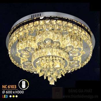 Đèn mâm tròn pha lê Ø600 x H300, 3 màu ánh sáng NC 6103