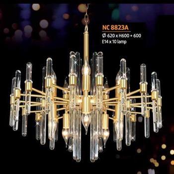 Đèn chùm đồng Ø620 x H600 + 600, E14 x 10 lamp NC 8823A