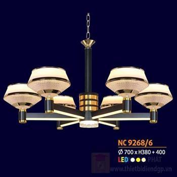 Đèn chùm trang trọng phong cách cổ điển Ø700 x H380 + 400, led 3 màu ánh sáng NC 9268/6