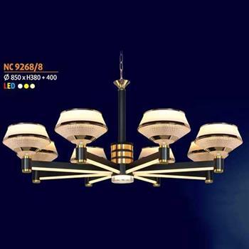 Đèn chùm trang trọng phong cách cổ điển Ø850 x H380 + 400, led 3 màu ánh sáng NC 9268/8