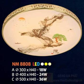 Đèn mâm tròn mica led 36W, Ø500 x H40, 3 màu ánh sáng NM 8808 C LED