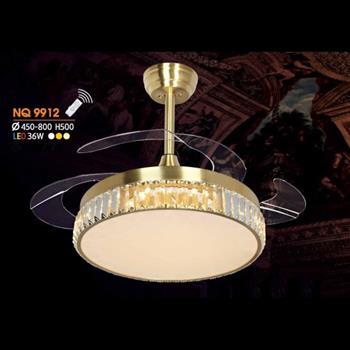 Quạt đèn Ø450 - 800 x H500, led 36W, 3 màu ánh sáng NQ 9912