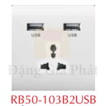 Ổ cắm usb đôi + ổ cắm đa năng RB50-103B2USB
