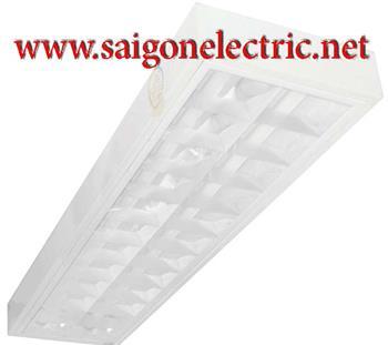 Máng đèn lắp nổi 2 bóng x 1.2m (thanh ngang bằng nhôm sọc, thanh dọc bằng inox) PSFD236