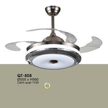 Quạt trần đèn Verona Ø500 x H560, cánh quạt 1100, Ánh sáng 3 chế độ QT-808